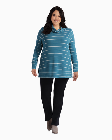 April Cowl Neck Tee | Turquoise / White