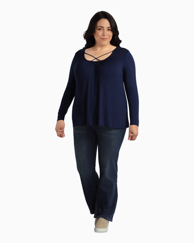 Karlie Criss-Cross Long Sleeve Top | Navy