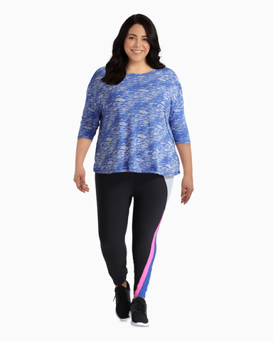 Saturn Three-Quarter Sleeve Top | Royal Blue / Light Blue | (Master)