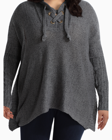 Autumn Lace-Up Hoodie Poncho | Charcoal Grey | (Master)
