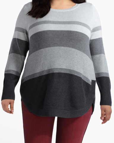 Sophie Cotton Sweater | Charcoal Grey / Light Grey