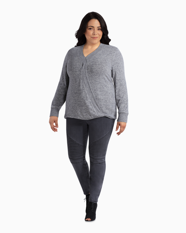 Etta Asymmetrical Cozy Top | Light Grey