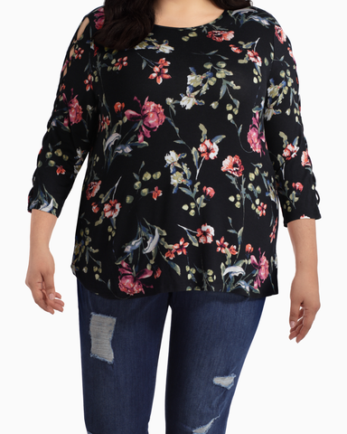 Tamara Laced Sleeve Top | Black / Pink | (Master)