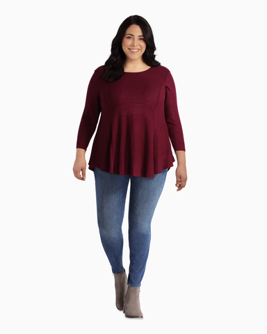 Colleen Babydoll Top | Burgundy