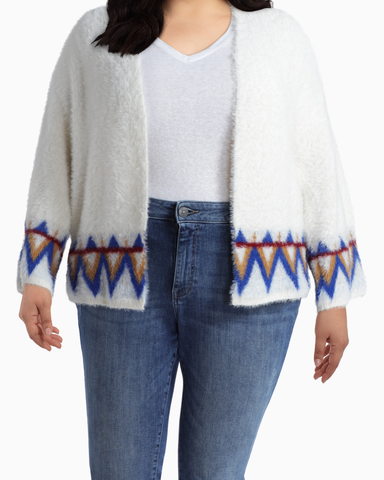 Scarlett Statement Cardigan | White / Royal Blue | (Master)