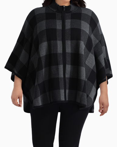Whitney Zip Sweater Poncho | Black / Charcoal Grey