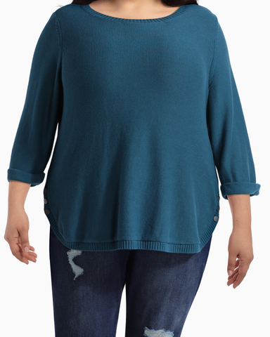 Madeline Side Button Sweater | Teal