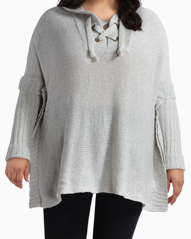 Autumn Lace-Up Hoodie Poncho | Light Grey