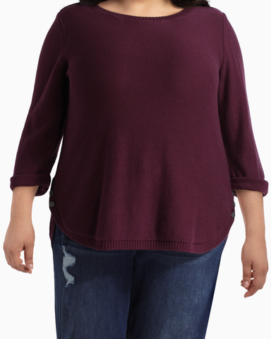 Madeline Side Button Sweater | Burgundy