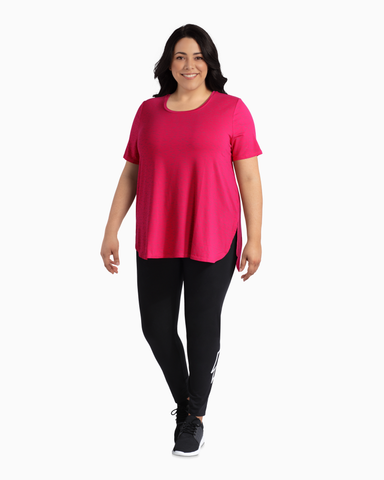 Rosebud High-Low Performance Tee | Pink
