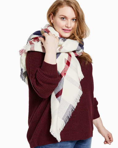 Ashley Cold Weather Scarf | White / Red | (Master)