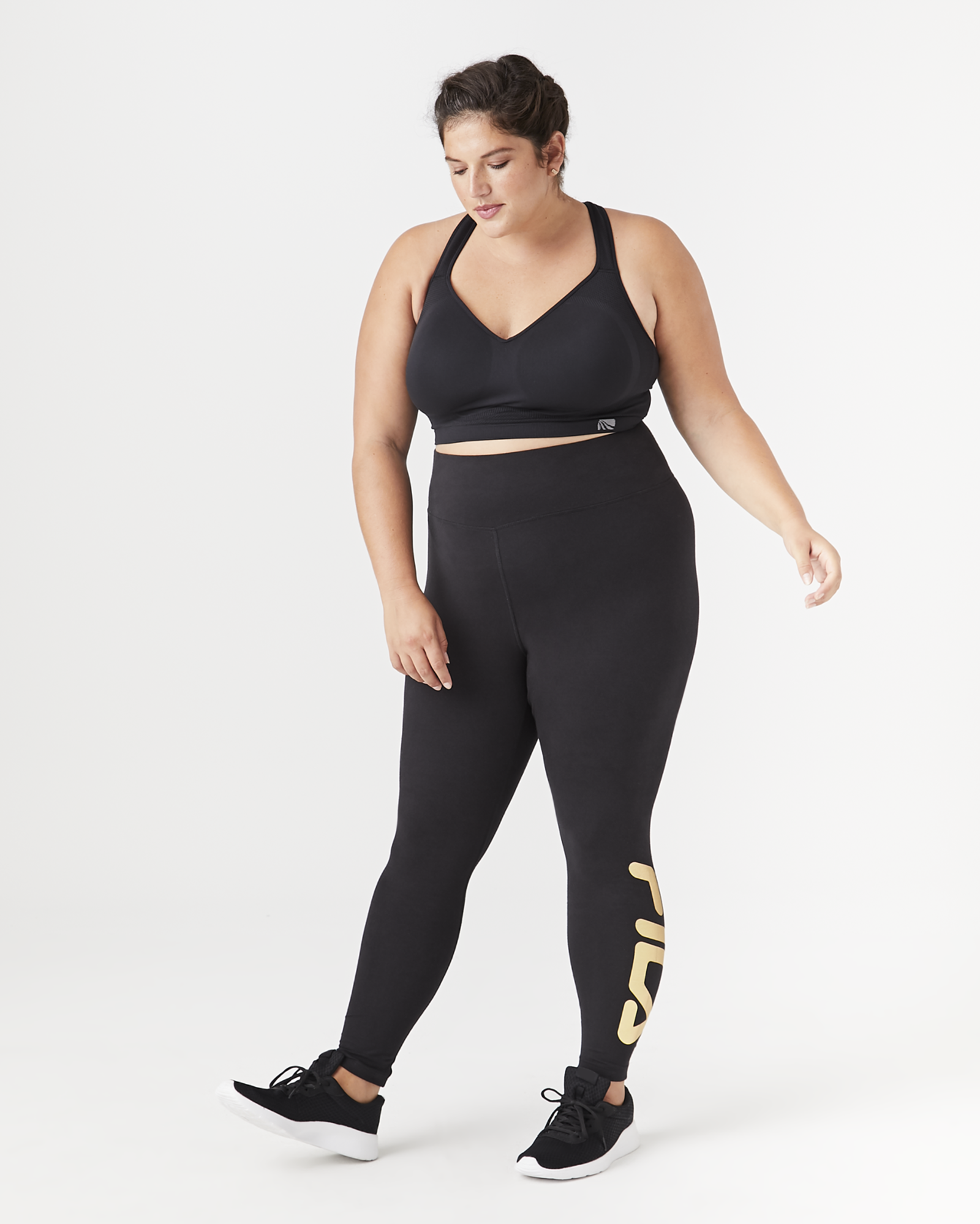 FILA Cora Full-Length Legging - Black / Gold, Size 3X (22-24), Dia&Co