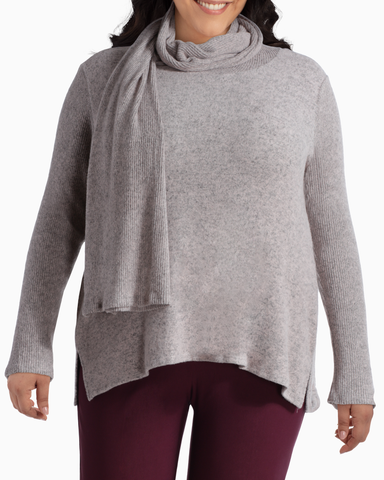 Millie Knit Top & Scarf | Light Grey / Pink | (Master)