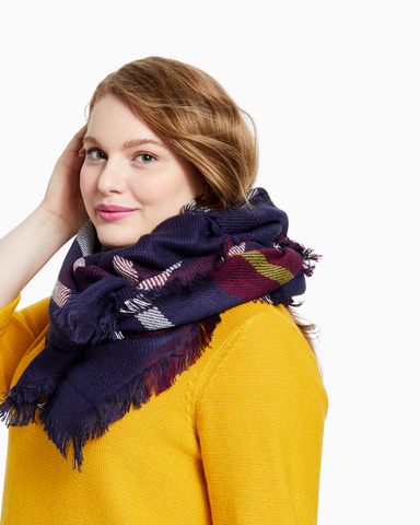 Ashley Cold Weather Scarf | Navy / Red