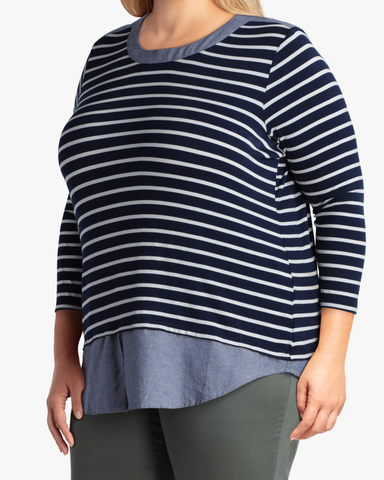 Davina Chambray & Stripes Top | Navy / White | (Master)