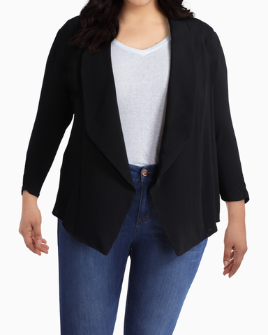 Rhea Draped Blazer | Black | (Master)