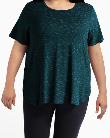 Rosebud High-Low Performance Tee | Forest Green