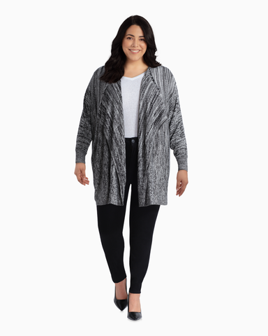 Kimberly Open Front Cardigan | Charcoal Grey / Light Grey | (Master)