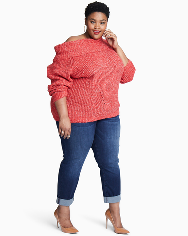 Cassandra Off The Shoulder Cowl Sweater | Red | (Master)