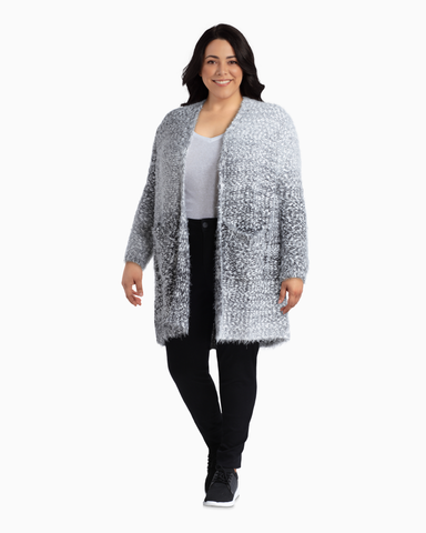 Tascher Eyelash Cardigan | Light Grey / Charcoal Grey | (Master)
