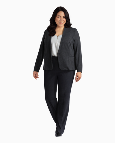 Utopian One-Button Blazer | Charcoal Grey
