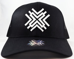 Black Mesh Hat - White Logo
