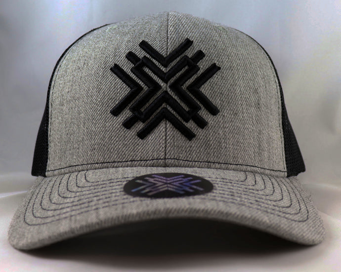 Grey Mesh Hat - Black Logo