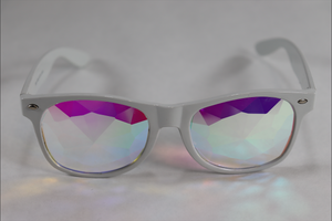 Diamond - Wayfarer Kaleidoscope Glasses - White Frame