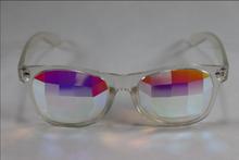 Load image into Gallery viewer, Pane - Wayfarer Kaleidoscope Glasses - Clear Frame