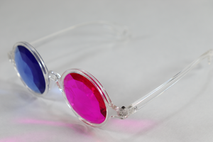 Pink/Blue - Round Kaleidoscope Glasses - Clear Frame