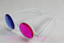 Load image into Gallery viewer, Pink/Blue - Round Kaleidoscope Glasses - White Frame