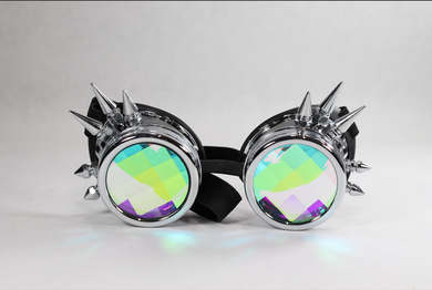 Chrome Spike Kaleidoscope Goggles - Pane Lenses