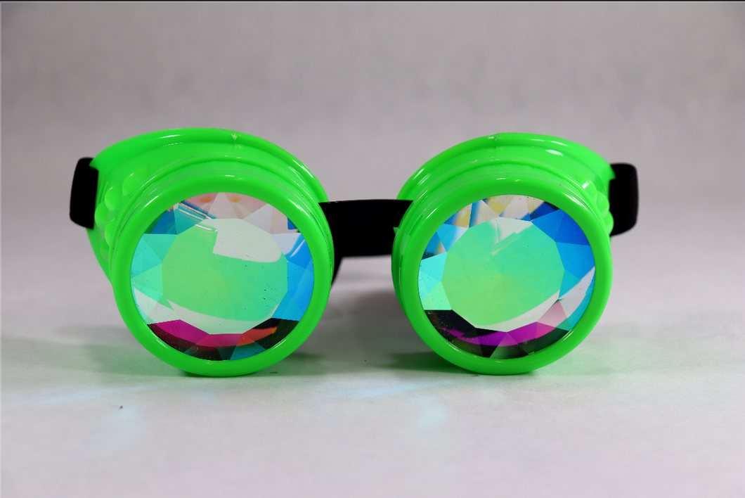 Green Kaleidoscope Goggles - Diamond Lenses