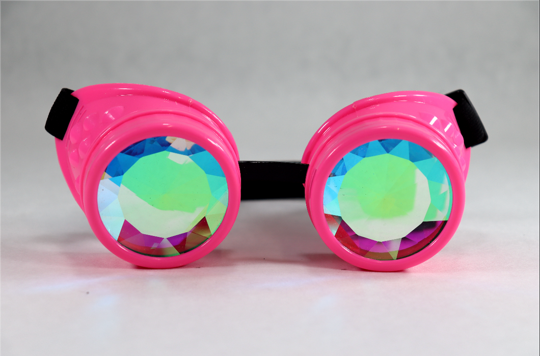 Pink Kaleidoscope Goggles - Diamond Lenses