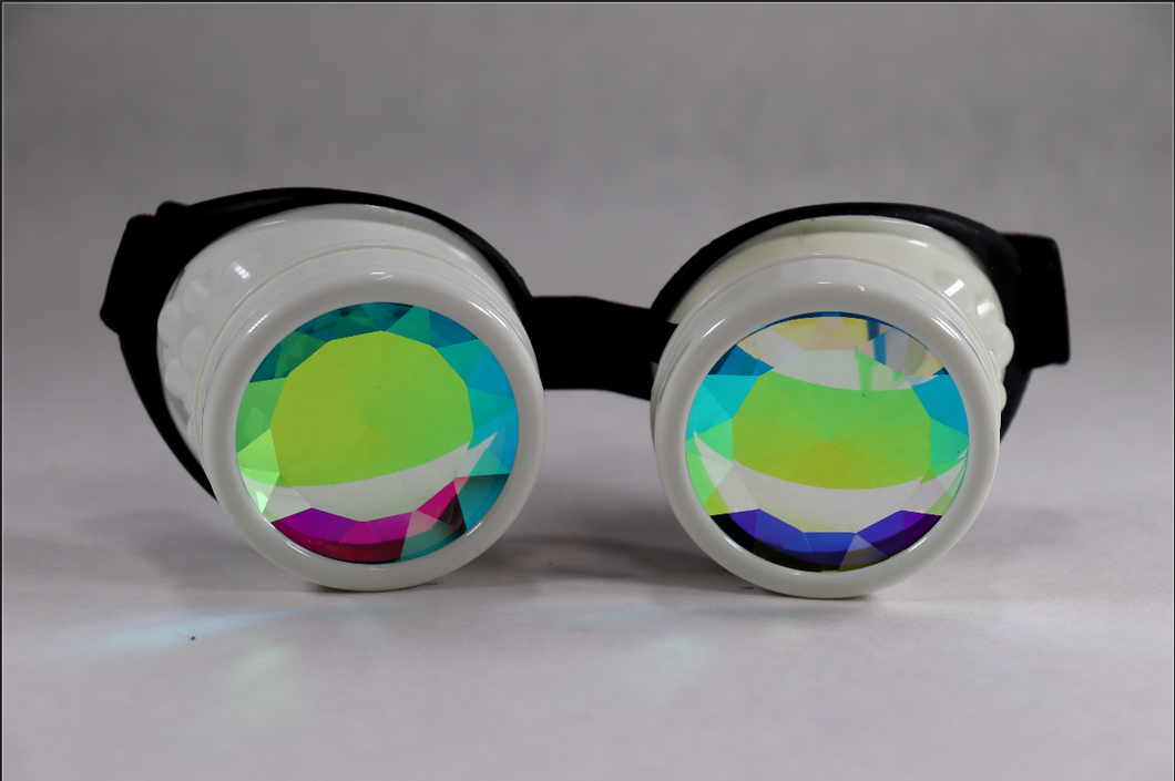 White Kaleidoscope Goggles - Diamond Lenses