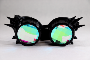 Black Spike Kaleidoscope Goggles - Pane Lenses