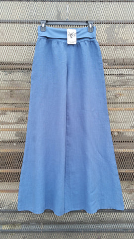 WIDE LEG ROLLOVER LINEN YOGA PANTS-BLUE