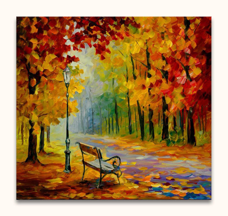 Leonid Afremov - Bench and Lamppost in a Park
