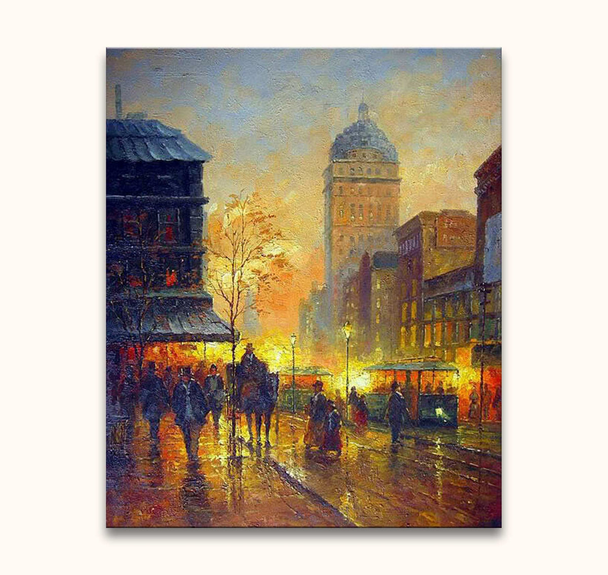 Sunset in Paris - Olieverf op canvas