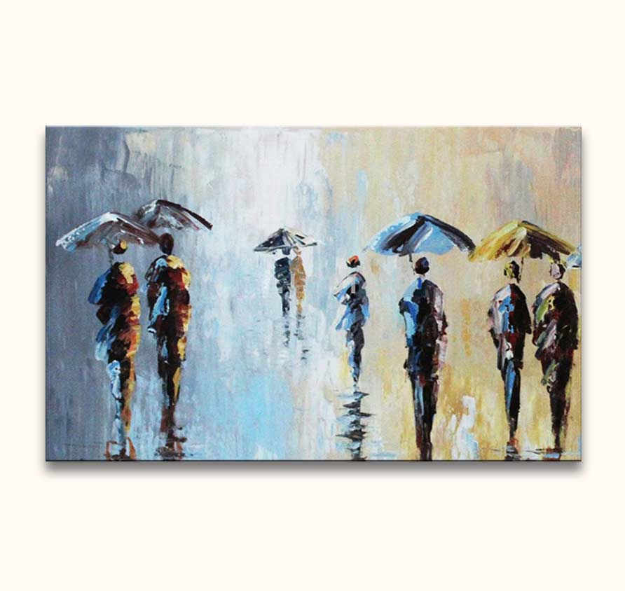 Five Umbrella's and a Wet Suit - Olieverf op Canvas