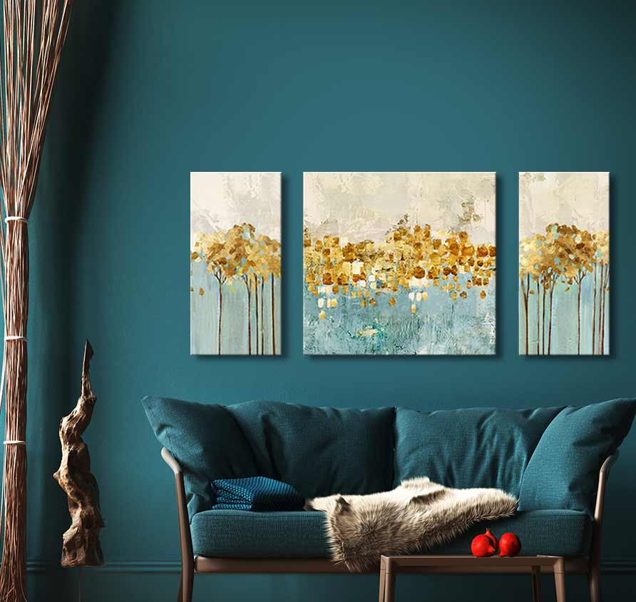 3-Luik Golden Trees - Acrylverf op canvas
