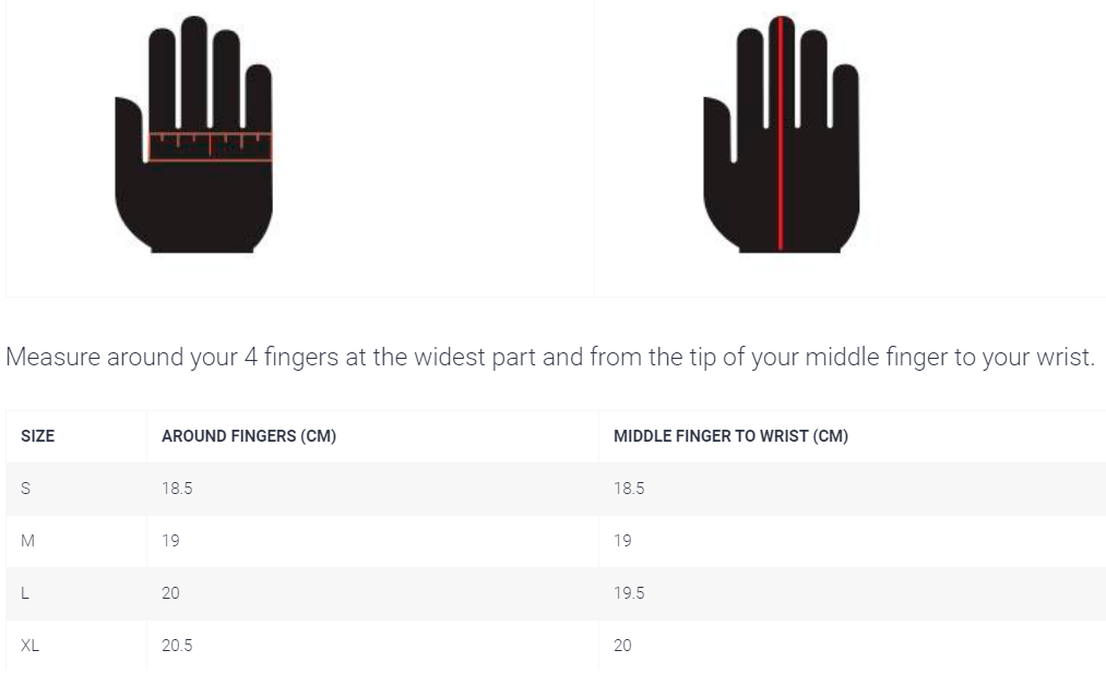 k1 speed glove size chart