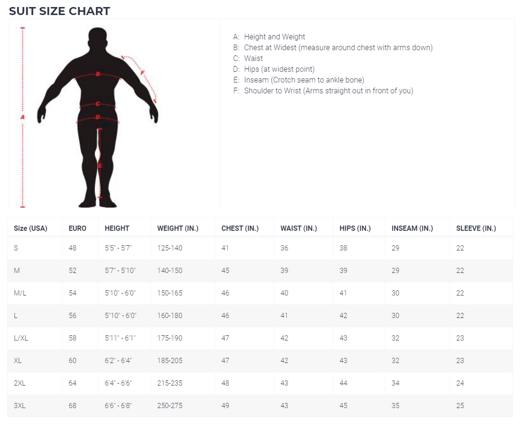 K1Speed Racing Gear Sizing Chart