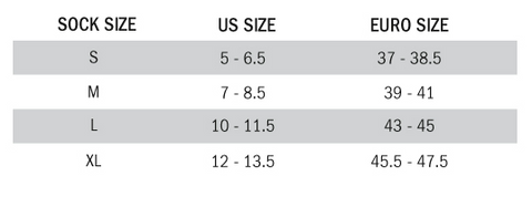 Alpinestars Sock Sizing Chart