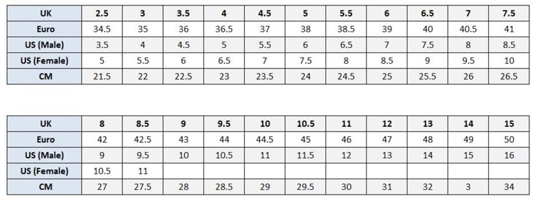 Sparco Shoe Size Chart