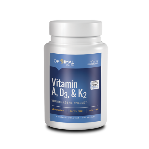 Vitamin A, D3, K2 | 60 Capsules | Optimal.Health