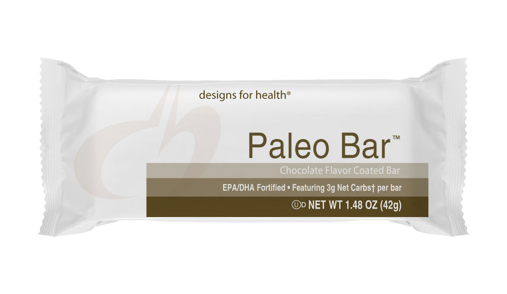 PaleoBar Chocolate Coated 1 Case of 18 Bars Designs for Health