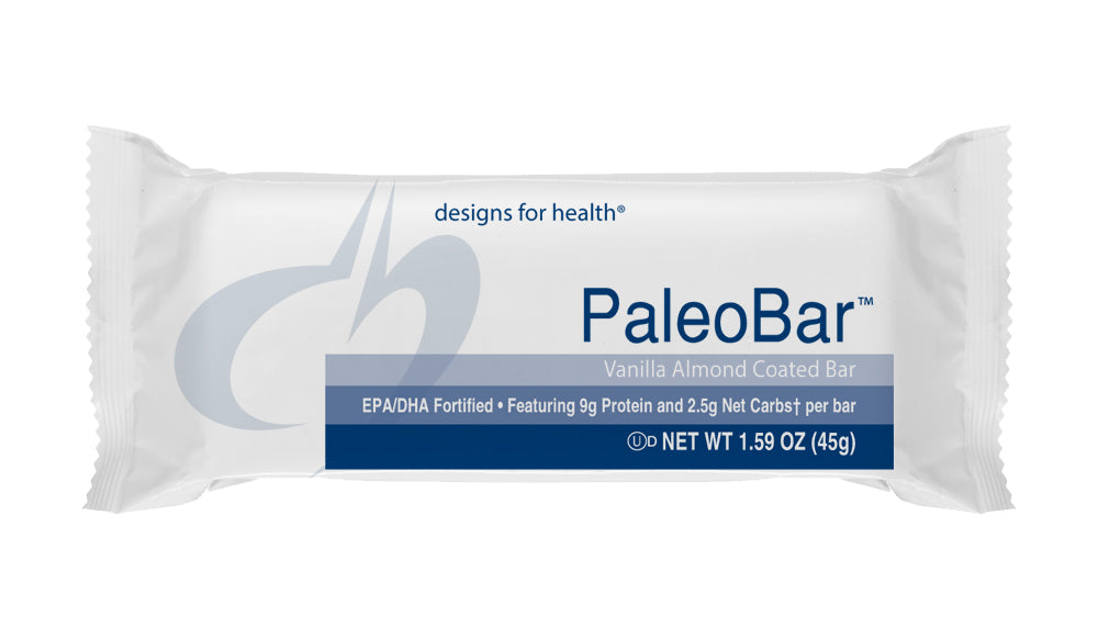 PaleoBar Vanilla Almond 1 Case of 18 Bars Design for Health