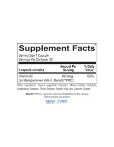 Vitamin K2 180 mcg 30 Capsules Ortho Molecular Products