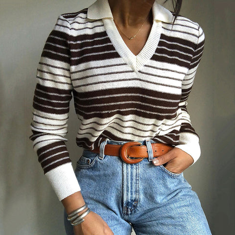 Casual Striped Lapel Long Sleeve Sweater